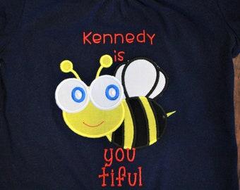 Bumble bee, summer shirt, girl shirt, girls shirt, t shirt, tshirt, t-shirt, custom, girl clothing, toddler, blue, yellow, personalized,