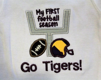 Lousianna, Tigers, baby boy gift, baby shower gift, baby boy clothes, bodysuit, football, LSU, purple, gold, baby clothes, handmade
