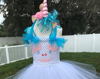 Unicorn birthday, Unicorn costume, girls, baby girl toddler, Halloween costume, tutu dress, white, aqua blue, Unicorn headband, girl clothes