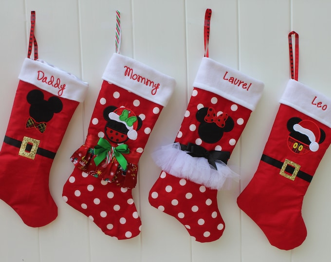 Featured listing image: Christmas, Christmas stocking, Christmas stockings, Mickey Mouse inspired, Minnie Mouse inspired, personalized, holiday decor, red white