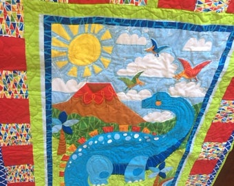 Dinosaur, Patchwork quilt, personalized, baby quilt, quilt, baby boy gift, baby blanket, baby shower gift, baby boy, Christmas gift