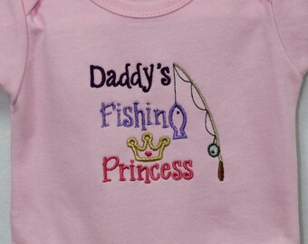 Baby girl clothes, bodysuit, pink, baby girl gift, baby shower gift, new baby gift, Daddy, fishing, princess, baby girl