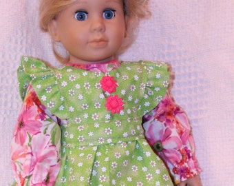 Doll clothes,AG Doll clothing,18 inch doll clothing,Doll accessories,Green Pinafore Doll dress,Pink doll dress,baby doll,Handmade doll