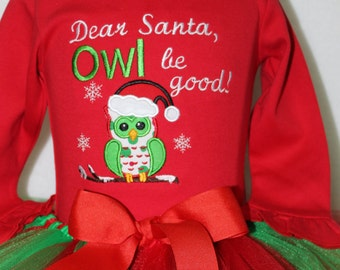 Girls Christmas outfit, Baby girl, Christmas outfit, Red, green, baby girl clothes, bodysuit, baby tutu, Christmas tutu, owl, santa