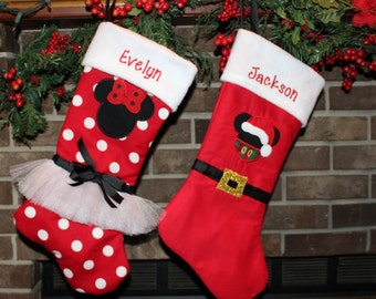 Mickey Mouse, Minnie Mouse, Christmas, Christmas stocking, boy stocking, girl stocking, Disney, Personalized stockings, Family Christmas