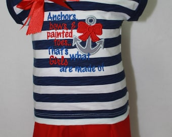 Nautical shirt, nautical headband, baby girl, 4th of July outfit, red, blue, baby girl clothes,  beach, baby clothes, summer, shirt, custom