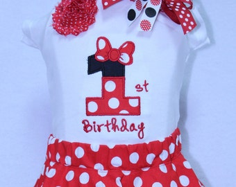 First birthday girl, Minnie Mouse inspired birthday outfit,girls 1st birthday,Disney birthday,Red and white polka dot twirl skirt,headband
