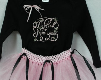 First New Year, 1st New Year, New Years Eve, baby girl, New Year outfit, bodysuit, baby tutu, black, pink, baby girl clothes, New Year Day