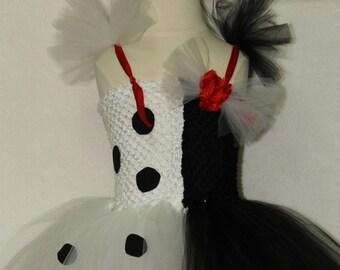 Cruella costume, Deville costume, Dalmatian costume, girls costume, black and white tutu dress, girl Halloween costume