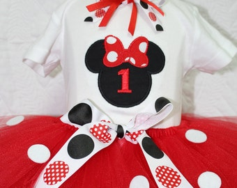 1st birthday, 1st birthday outfit, first birthday,Minnie Mouse inspired birthday, Red, tutu, birthday tutu, baby 1st birthday, Disney shirt,