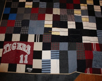 T shirt quilt, tshirt quilt, t-shirt quilt, memory quilt, memory blanket, recycled clothes, repurposed clothes, remembrance, sympathy