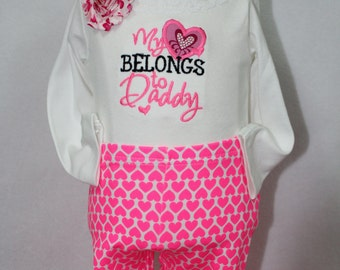 Valentines Day, Valentine Day, bodysuit, pink, hearts, daddy, leggings, baby leggings, baby girl clothes, baby girl gift, baby shower gift