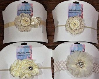 Off white, cream, beige, satin, lace, baby headbands, baby headband, girls headbands, baby shower gift, baby girl gift, flower girl headband
