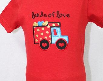 Valentines Day, Valentine Day, boy Valentine shirt, tshirt, t shirt, t-shirt, red, hearts, dump truck, personalized shirt, boy clothes