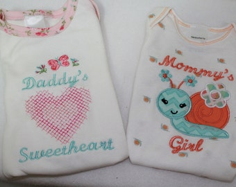 Baby girl gift, baby girl clothes, new baby gift, baby shower gift, gift for baby girl,  bodysuit, daddy, pink, aqua blue, heart