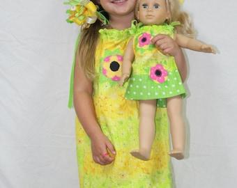 Girl clothes, dress, pillowcase dress, doll dress, girl doll clothes, American, 18 inch doll clothes, 18 inch doll, matching dresses