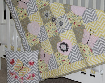 Baby Quilt, baby blanket, handmade quilt, baby shower gift, new baby gift, baby girl gift, baby girl, gray, yellow, pink, butterfly, crib