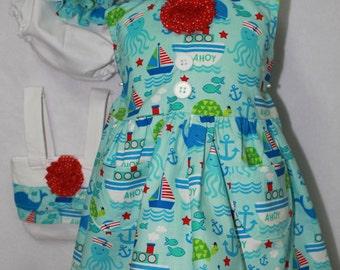 Nautical, beach, handmade, dress, summer dress, baby shower gift, purse, baby gift, baby girl, baby girl clothes, baby clothes, beach dress