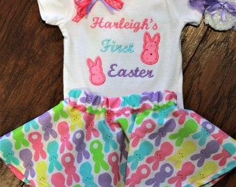 1st Easter outfit, First Easter outfit, baby girl clothes, Easter dress, personalized, Easter bunny, peeps, pink, lavender, Easter headband