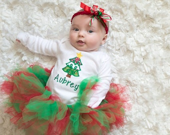Personalized, christmas tree shirt, baby tutu, red, green, Christmas, bodysuit, baby headband, handmade, first Christmas, baby girl clothes