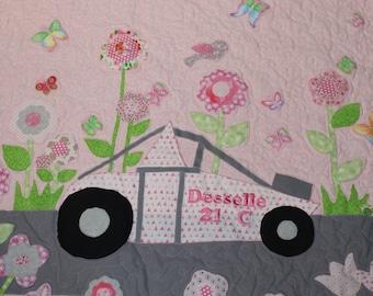 Baby quilt, girl baby quilt, pink baby quilt, baby shower gift, new baby gift, baby girl gift, pink, gray, sprint car, floral quilt,
