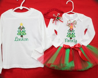 Sibling shirts, baby girl, Christmas outfit, Personalized, bodysuit, tshirt, t shirt, Boys Christmas shirt, brother, sister, Christmas tree