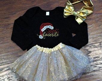 Baby girl Christmas outfit, Santa's favorite, Christmas bodysuit, Christmas shirt, baby girl gold tutu, metallic gold headband, baby clothes