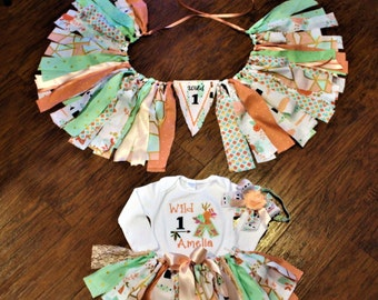 Wild 1 birthday outfit, Wild One baby girl birthday,  Wild 1 highchair banner, teepee bodysuit, peach, mint, baby tutu, wild one headband