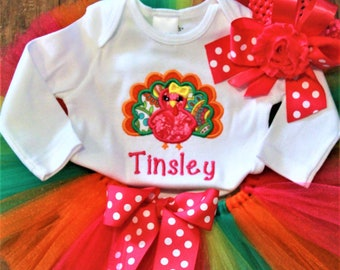 Thanksgiving baby girl outfit, girl baby clothes, personalized bodysuit, baby girl and big sister sibling shirts, hot pink orange tutu