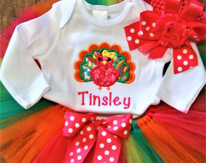 Featured listing image: Thanksgiving baby girl outfit, girl baby clothes, personalized bodysuit, baby girl and big sister sibling shirts, hot pink orange tutu