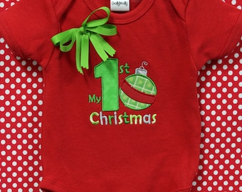 First Christmas, 1st Christmas, Personalized, Baby Girl clothes, baby boy clothes, girls 1st Christmas, boys 1st Christmas, bodysuit, red