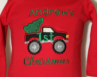 1st Christmas, bodysuit, first Christmas, red, baby boy clothing, Christmas shirt, boy shirt, personalized, truck, Christmas tree, Christmas