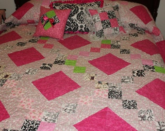 Handmade Quilt, Quilt, black quilt, pink quilt, patchwork, custom quilt, quilted throw, twin size, full size, queen size, king size, girl