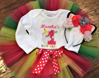 Personalized baby girl 1st birthday outfit, girls first birthday outfit, kitten bodysuit, kitten shirt, rainbow baby tutu, cat headband