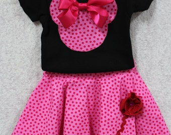 Minnie Mouse, Disney, girl clothes, Minnie Mouse shirt, pink, personalized, black, skirt, polka dot, tshirt, t shirt, t-shirt, custom shirt