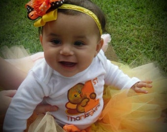 Baby girl 1st Thanksgiving outfit, baby girl first Thanksgiving, baby Thanksgiving tutu, baby 1st Thanksgiving bodysuit, orange and brown