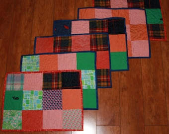 Placemats, Memory quilts,t shirt quilt, clothing quilt, recycled clothes, Memory placemats, sympathy gift, Christmas gift, gift for mom