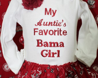 Alabama, Roll tide, crimson tide, baby girl clothes, baby dress, baby girl gift, baby shower gift, new baby gift, bodysuit, Auntie