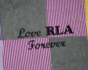 Personalization on Memory Quilts, Personalization on Baby quilts,Personalization on Double Wedding Ring quilts,Adding of Personalization