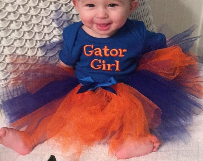 Featured listing image: UF, Florida Gators, Florida, Gators, bodysuit, baby shower gift, new baby gift, baby girl clothes, baby tutu, orange, blue, baby headband