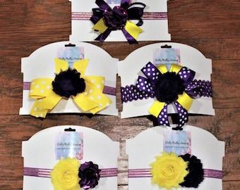 Louisiana, LSU, baby headband, baby headbands, Purple, yellow, gold, baby shower gift, baby girl gift, stretch headbands, girls, baby girl