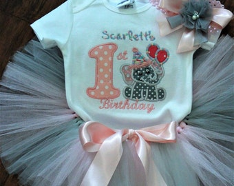 1st birthday, first birthday, pink, gray, elephant birthday, personalized, baby girl birthday, tutu, baby girl clothes, bodysuit, headband