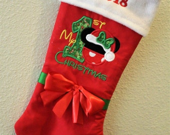 Minnie Mouse inspired Christmas stocking, Christmas stockings, girl 1st Christmas stocking, baby girl Christmas stocking, first Christmas