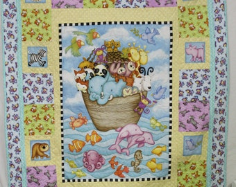 Noah's Ark, baby quilt, baby blanket, baby boy quilt, baby boy, baby girl, baby shower gift, new baby gift, baby boy gift, baby girl gift