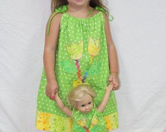 Pillowcase Dress, girls dresses, lime, American, summer dress, birthday gift, handmade, custom, doll clothes, 18 inch doll clothes