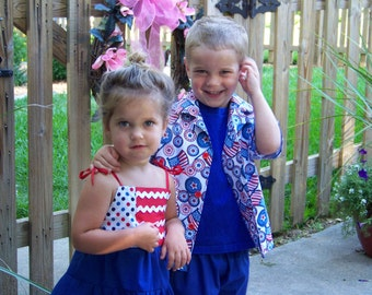 Fourth of July, 4th of July, sundress, baby girl clothes, sibling clothes, dress, red, blue, patriotic, boy shirt
