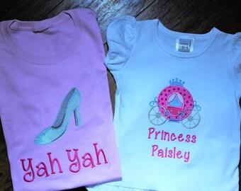 Princess Carriage, Princess shirt, disney shirt, tshirt, t shirt, t-shirt, Cinderella, Pink, ruffle pants, Mommy and me, Mom disney shirt
