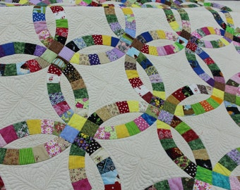Quilts, Quilt, Double wedding ring quilt, wedding gift, Christmas gift, anniversary gift, king size, full size, queen size, twin size