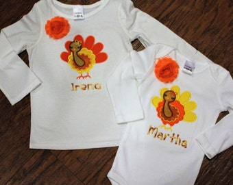 Sibling Thanksgiving shirts, Thanksgiving shirt for girls, Thanksgiving bodysuit for baby girls, turkey shirt, personalized tshirt, t shirt