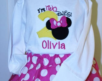 girl 2nd birthday, girl birthday, Minnie Mouse inspired girl clothes, t shirt, toddler, I'm Twodles, pink, red, polka dot skirt